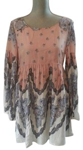 Free People short dress Pink and White Bell Sleeve Floral Pockets on Tradesy