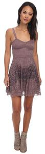 Free People Flocked Velvet Lace Fit & Flare Washed Dress