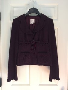 Nanette Lepore Wine Wool Scalloped Velvet Blazer