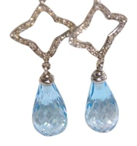 David Yurman David Yurman Quatrefoil BlueTopaz Sterling Drop Earrings with Diamonds