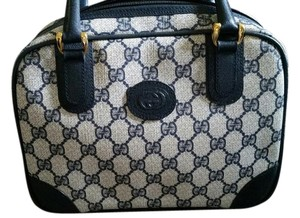 Gucci Leather Monogram Vintage Satchel in Navy Blue