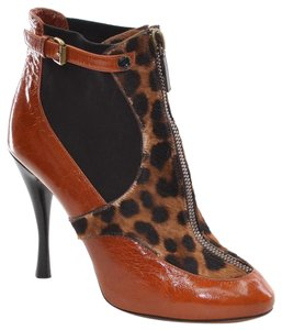 Tabitha Simmons Italy Calf Hair Top Zip Brown, Black & Leopard Pattern Boots