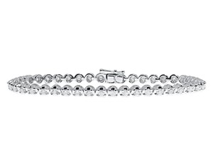 Other 10k White Gold Ladies Row Round Diamond Tennis Bracelet 2 ct