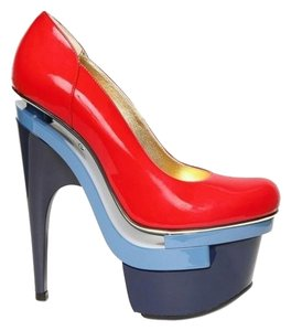 Versace Leather Red and Blue Platforms