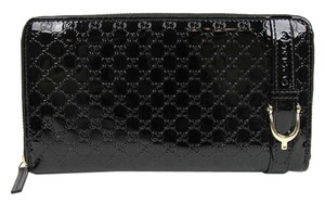 Gucci Gucci Black Patent Leather Guccissima Zip Around Wallet 309758 1000