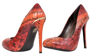 Roberto Cavalli Leather Snakeskin Red Pumps