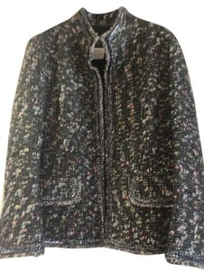 Chanel Black tweed with blue, pink and silver flecks and black lining Jacket