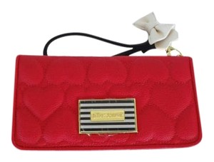 Betsey Johnson Multi compartment red/black/quilted heart/wallet/wristlet/ gift boxed