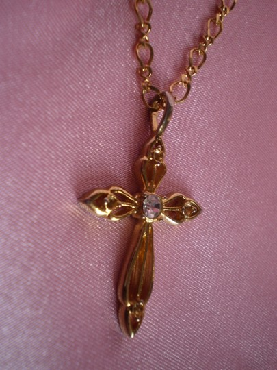 Other Vintage Cross w/Crystal Necklace Image 1
