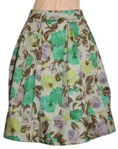 Anthropologie Above Knee Pleated Floral Skirt MULTI COLOR