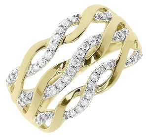 Other 10k Yellow GoldTwist Fashion Cocktail Diamond Band Ring 0.26 ct