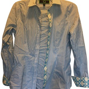 C. Wonder Button Down Shirt Blue, White, Yellow