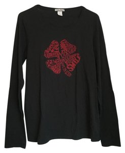 Lucky Brand Four-leaf Clover Long Sleeve Cotton Tee T Shirt Black with red design