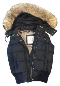Abercrombie & Fitch Puffy Bomber Faux Fur Hood Vest