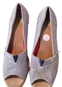 TOMS Navy and white stripe Wedges