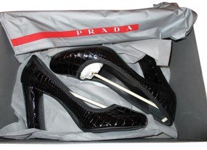 Prada Patent Leather Croc black Pumps