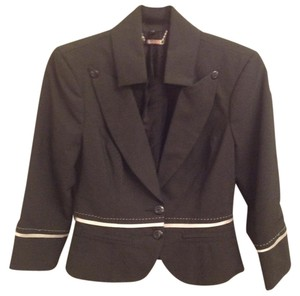 bebe Size 8 Made In Usa Dry Clean Only black (very dark gray) pinstripe Blazer