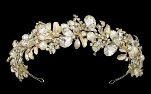 Fabulous Gold Leaf Pearl And Rhinestone Wedding Headband