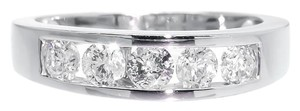 14k White Gold Unisex 5 Stone Diamond Wedding Band Ring 1.05ct