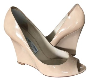 Jimmy Choo Patent Leather Wedge Beige Wedges