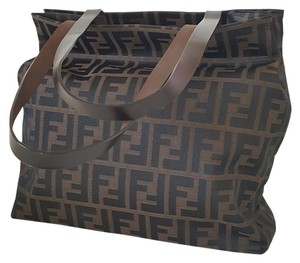Fendi Zucca Canvas Shopping Tote in Brown
