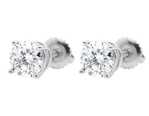 Other 14k White Gold Round-Soliatire Diamond Stud Earring 1.30ct