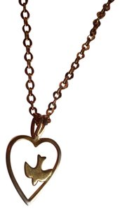 Vintage Gold Plated Heart/Dove Necklace
