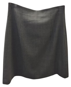 Theory Pinstripe A-line Wool Skirt Grey