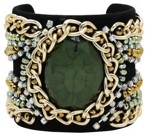 Other Black Velvet Rhinestone AB Crystal Accent Chained Cuff Bracelet
