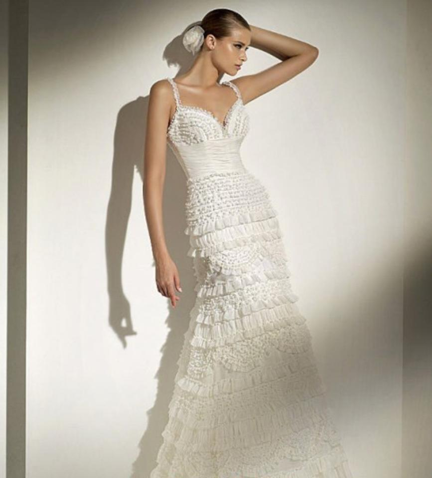 Pronovias Offwhite White Light Ivory Ruffled Garza Match Lace Tulle ...