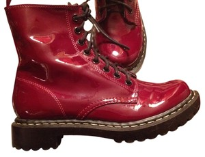 Xhilaration Faux Patent Combat red Boots