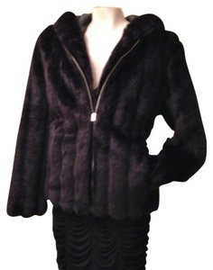 Giacca Faux Fur Fuax Mink Hooded Bomber Water-repellant bLACK Jacket
