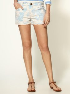 Current/Elliott Floral Cutoff Denim Cut Off Shorts Blue Rose