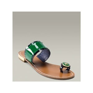 Tory Burch Blue, Green, Gold Sandals