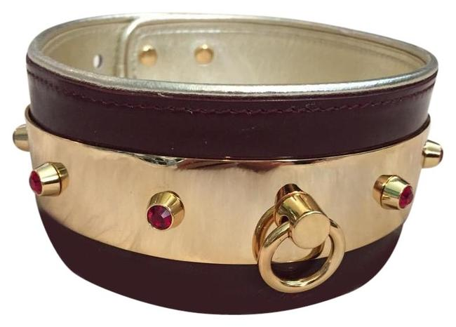 Item - Burgundy Red Gold Leather Patent & Crystal Choker Necklace