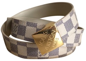 Louis Vuitton Louis Vuitton Damier Azur Logo Buckle Belt 100/40