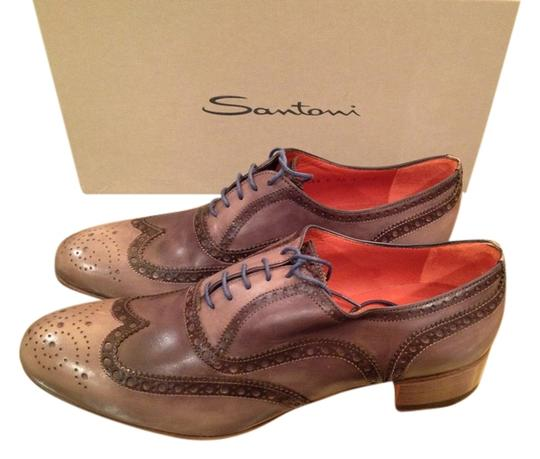 Santoni Oxford Womens Lace-up Leather Perforated Size 8 Oxfords Made In Italy Grey Boots