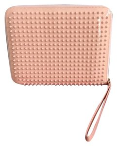 Christian Louboutin Studded Patent Leather Wristlet in Pink