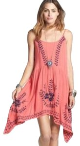 Free People short dress Coral Pink Coral Embroidered Braided Racerback Flowy on Tradesy