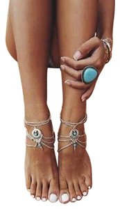 Barefoot Sandal Anklet, silver and turquoise, 2 PC