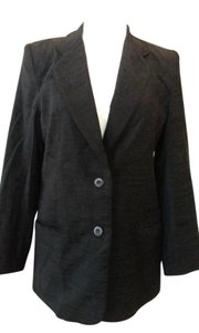 Rafaella Acrylic/poly/rayon Lined Sleevve Buttons Cord Look Texture Black Blazer