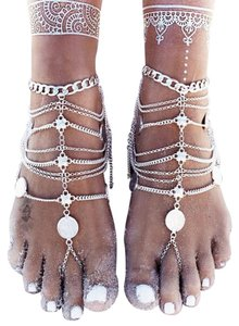 Barefoot Sandal Anklet, silver coin bohemian Foot ankle bracelet chain