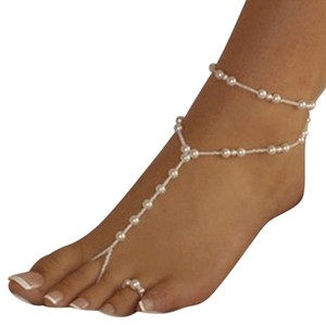 Other Barefoot Sandal Anklet, Pearl stretch 2PC foot ankle bracelet