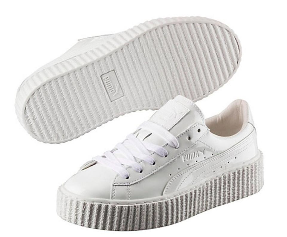 754d6c5cae0d Puma White Fenty By Rihanna Basket Patent Creeper Sneakers Size US ...