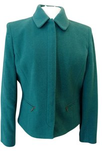 Casual Corner Plush Wool/poly Front Zipper Jade Green Blazer