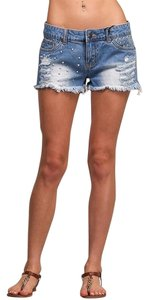 Litz Fringed Studded Cut Off Shorts Blue Jean