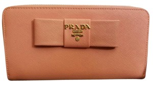 Prada Prada Pink Saffiano Wallet with Bow