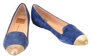 Dolce Vita Suede Deep Saffire Blue with Gold Metal Toe Cap Flats