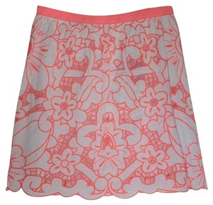 MILLY Embroidered Cotton Mini Skirt pink