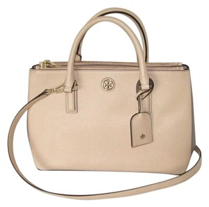 Tory Burch Leather Satchel in Toasted Wheat/French Grey 275